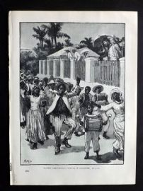 Cassell 1902 Antique Print. Slavery Emancipation Festival in Barbados